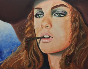 "Cowgirl - Original Oil Painting on stretched canvas 24""x18"""