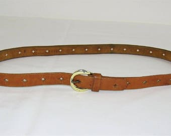 Vintage Star Punched Top Grain Cowhide Light Brown Leather Belt - Size M