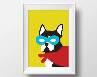 Boston Terrier, Modern, Stylish, SuperHero Printable, Instant Download, Dog, Black and White, Kid, Nursery, Home Decor, Pop, Yellow, Red