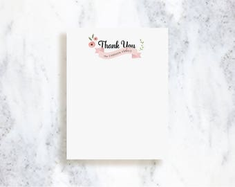 Pretty Little Banner Thank You Note Card Set // Baby Shower Stationery // Bridal Shower // Family
