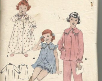 1960s Girl's Sleepwear Nightgown Pajamas Bloomers Butterick 7337 Size 8 Breast 26 Girls' Vintage Sewing Pattern