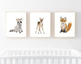 Woodland nursery set of 3, fox, raccoon, deer, watercolor animal, woodlands, kids poster, girl's nurser, baby shower gift, nursery decor