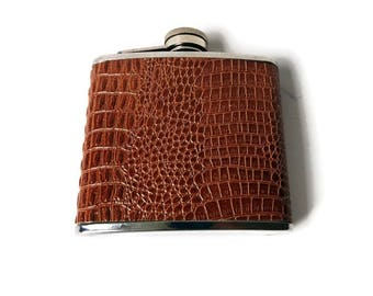 Vintage Leather Flask/ 5 oz  Faux Croc Wrapped Stainless Steel Hip Flask/ Man Cave/ Steampunk