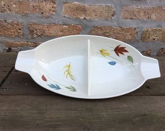 Franciscan Autumn Leaves divided serving dish 1960's mcm platter mod party dish made in USA mid century modern oven safe Gladding McBeam Co