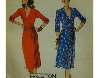 "80s Halston Wrap Dress Pattern, V-neck, Long Push-up Sleeves, Side Pleats, Tie Waist, McCalls No. 7021 Size 14  (Bust 36"" 92cm)"