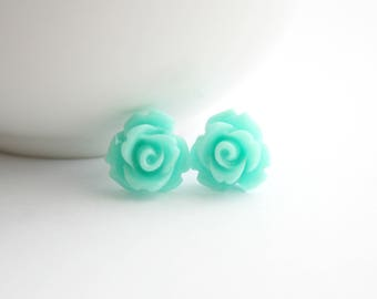 Aquamarine Rosette Earrings with Stainless Steel Posts