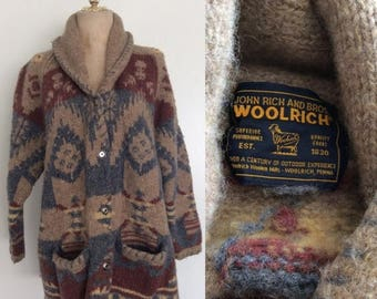 30% OFF 1980's Woolwich Southwestern Warm Colors Wool Cardigan Sweater Size Large XL by Maeberry Vintage
