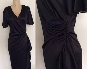 30% OFF 1980's Slinky Black Wrap Dress