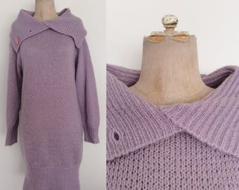 1980's Lavender Contempo Casuals Acrylic Knit Sweater Dress Size Small Medium by Maeberry Vintage