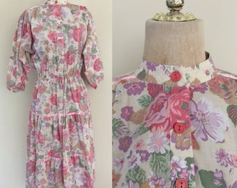 1970's Cotton Floral Print Dress Pink Floral Print Vintage Tiered Dress Size Small Medium by Maberry Vintage