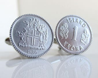 ICELAND Coin Cuff Links - Icelandic Repurposed Vintage 1 Krona Coins