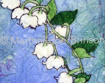 Batik watercolor giclee print, Art Deco, Lily of the Valley, Muguet des Bois floral art home decor, choose BLACK or WHITE 8x10 inch matte
