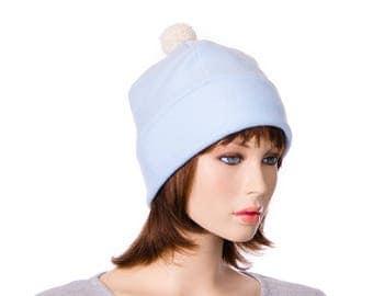 Bobble Beanie Blue Made of Fleece Ivory Pompom Warm Winter Hat Skull Cap with Fuzz Ball