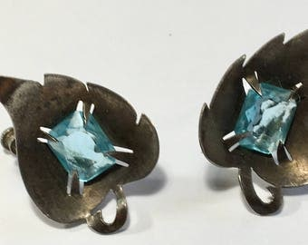 Vintage Sterling and Large Blue Rhinestone Leaf Earrings Possibly Hand Crafted