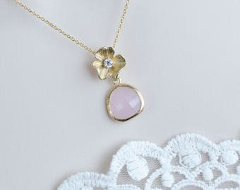 Rose Quartz Teardrop and Flower Necklace,Bridesmaid Necklace,Rose Wedding Necklace,Rose Quartz Glass Teardrop and Matte Gold Plated Necklace