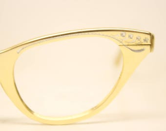 Unused Vintage Tura Gold Cat Eye Glasses Aluminum NOS