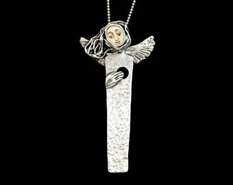Loss Jewelry Gift For Her, Memorial Necklace For Women, Unusual Jewelry Gift For Women, Robin Wade Jewelry, Angel Sable Feels Hollow, 2580