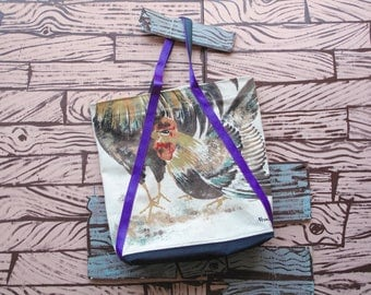 HAND MADE Japanese roosters market tote