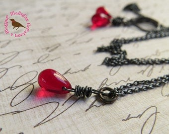 Petite Red Pendant Necklace in Oxidized Sterling, Red Teardrop Pendant, Wire Wrapped, Oxidized Sterling Chain, by MagpieMadness for Etsy