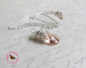 Pale Champagne Pink Necklace, Champagne Pink Teardrop Pendant in Sterling Silver, Pale Pink Pendant,  by Magpie Madness for Etsy