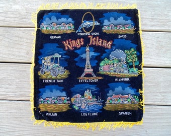 KINGS ISLAND. Souvenir, Amusement Park. Ohio. Souvenir. Fringed Black, Velvet, Pillow Case, unused vintage 1970s