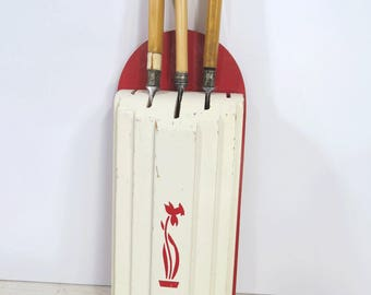 Vintage Wood Knife Holder Storage Wall Hanging Red & White Retro Kitchen Decor