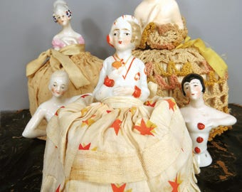 Porcelain Half Doll Pin Cushion STARS Dress Flapper Style Girl Sewing & Hat Pins