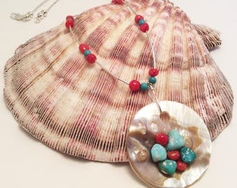 Turquoise and Coral on Mother of Pearl Necklace