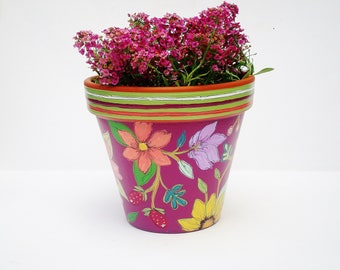 """Flower Pot, Hand Painted Terra Cotta Planter 6 Inch Diameter, """"Berry Delight"""" Ready to Ship"""