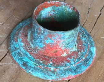 Vintage Candle Cup w Homemade Verdigris and Patina