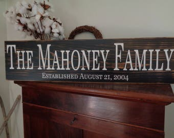 Family name sign, Extra Large Name Sign,3- 36x7.25, Signs, Personalized, Wood Custom Established Sign Rustic Vintage Shabby Chic