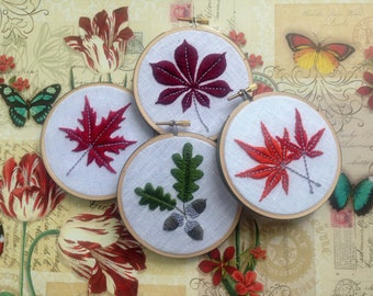 "Fall Foliage by mlmxoxo.  Acorn.  Autumn Leaves & Flowers.  Chestnut leaf.  Japanese maple duo.  Canadian maple.  Sunflower.  4"" hoop art."