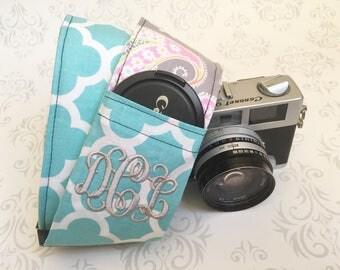 Monogrammed DSLR Camera Strap, Lens Cap Pocket, Nikon, Canon, Photography, Photographer Gift, Bohemian - Pastel Paisley & Aqua Quatrefoil