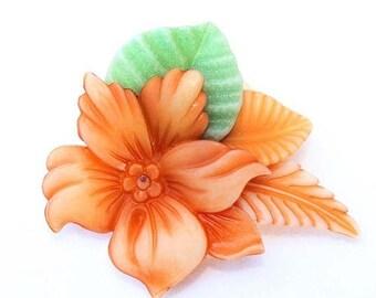 20% OFF SALE - Lovely Vintage Lucite Floral Brooch