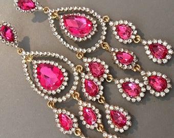 Long Hot Pink Earrings gold and Fuchsia rhinestone formal earrings wedding earrings bridal earrings elegant rhinestone earrings mother bride