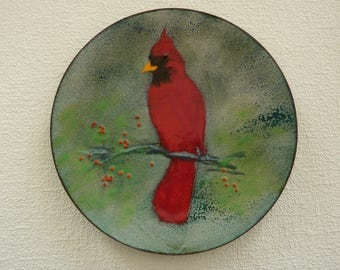 Vintage Enamel on Copper Plate Featuring a Red Cardinal - Hand Painted & Signed by Artist -  Collectible Bird Plate Shelf or Wall Decor