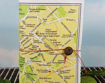 Travel Sale Rome Italy Travel Journal Mini with Vintage City Sightseeing Rome Colorful Map Cover