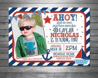 ON SALE Nautical Birthday Invitation - Printable File  - Anchor - Ahoy Invitation - Sailboat Invitation - Red and Blue - Bunting Invit