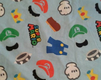 Super Mario Novelty Print on Blue Cotton Flannel Fabric 1 1/2 Yards X1183