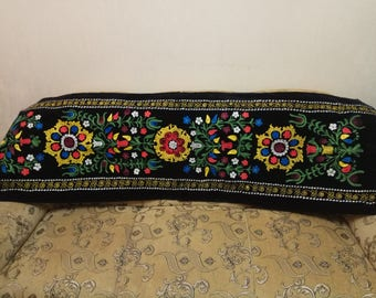 Uzbek silk embroidery on black velour suzani. Wall hanging, table runner, home decor suzani