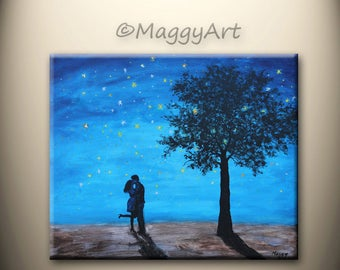 On Sale,original abstract painting, kissing in starry night,love couple,24x20 inch,ready to hang,great wedding gift,Free Shipping in US