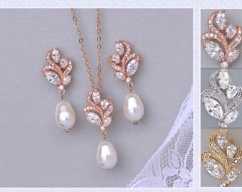 Rose Gold Jewelry Set, Rose Gold Bridal Set, Pearl Earrings & Necklace Set, Rose Gold,Gold,Rhodium Jewelry Set, FLEUR RG