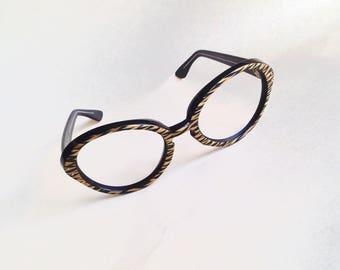 1960s Black & gold French eyeglasses frames / 60s kitsch round metallic tiger stripe spectacles sunglasses