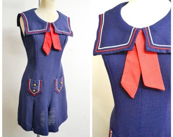 1960s Navy blue white red sailor collar day dress / 60s dark blue fitted sleeveless pleated shift dress - S