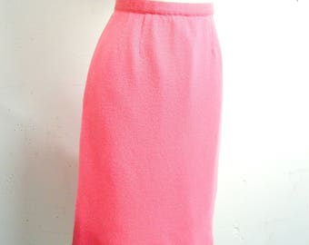 1960s Sugar pink Pringle cashmere wiggle skirt / 50s 60s baby pink pastel soft wool straight skirt - S