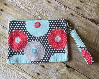 Large Zipper Pouch - Grey Dots with Red and Aqua Flowers - Zippered Clutch - Large Wristlet - Large Pencil Pouch