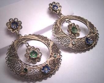 Antique Silver Enamel Earrings Oaxaca Mexican Vintage Art Deco 1930