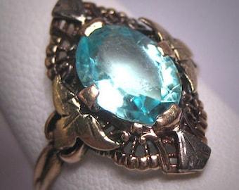 Antique Aquamarine Ring Vintage Art Deco Filigree Wedding Gold c.1920