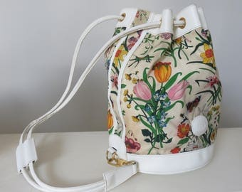 Vintage Gucci Canvas & Leather Bucket Bag with Drawstrings
