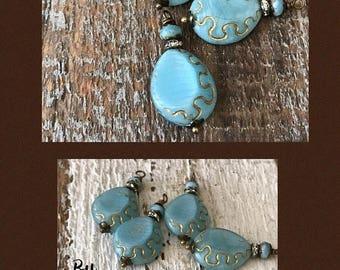 SALE New Blue silk European glass Lantern bead gold etched dangle drops 2pcs